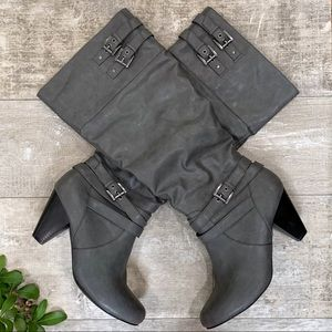 Rampage Knee High Vegan Slouchy Buckled Boots 10